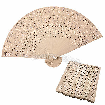12 pcs Chinese Folding Fragrant Wooden Hand Fan Moon Star Vintage Gift US Stock