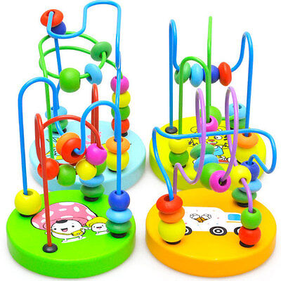 Educational Baby Kids Wooden Around Beads Toddler Infant Intelligence Toys XN