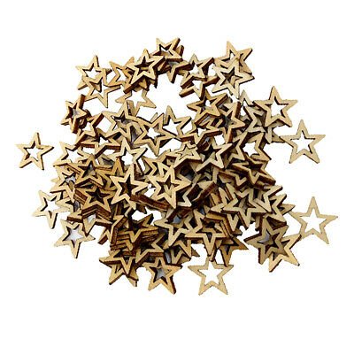 100pcs 10mm Unfinished Wood Shape Star Embellishment for Woodcraft Scrapbook