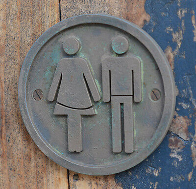 NEW, Hand Made Male Female, Unisex Toilet, Bathroom Bronze Resin plaque, sign.