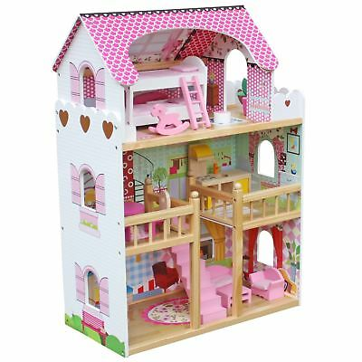 Luxury 3 Storey Large Wooden Dolls House With Furniture Toy Play Set Xmas Gift