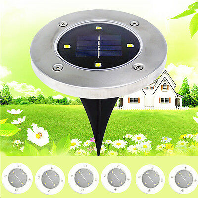 12x Solar Powered LED Buried Inground Recessed Light Auto Switch Garden Outdoor