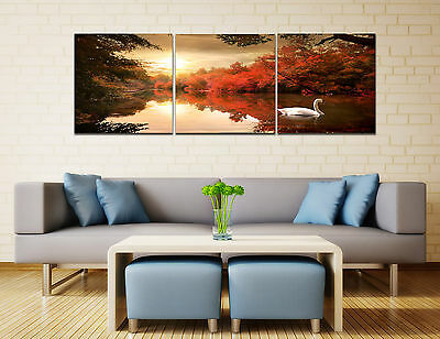 """Art Oil Painting on Canvas 3pcs 16"""" Abstract Wall Decor Swan Lake NO framed 320"""