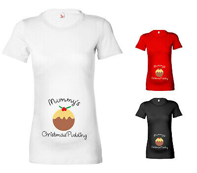 Womens Mummy's Christmas Pudding Maternity T-Shirt Pregnancy Top Gift