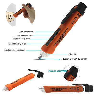 AC12-1000V Non-Contact LED Light Sound Electric Voltage Detector Tester Test Pen