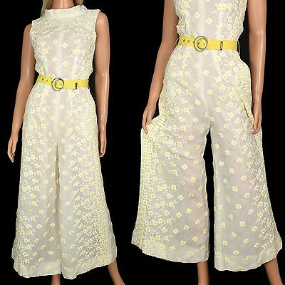 Vtg 60s PALAZZO JUMPSUIT Sheer CHIFFON FLOWER POWER One Piece Playsuit Romper S
