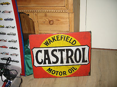 Castrol original vintage antique enamel signbord enamel on 2 sides!!