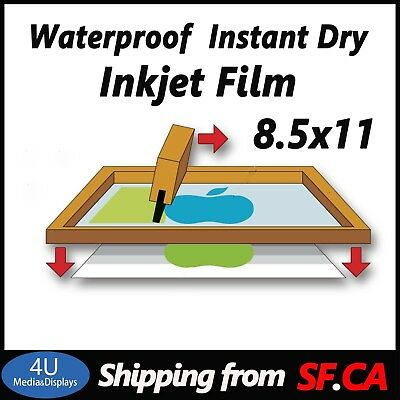 "8.5"" x 11""(25 SHEETS)Silk Screen Printing Transparency Waterproof  Inkjet Film"
