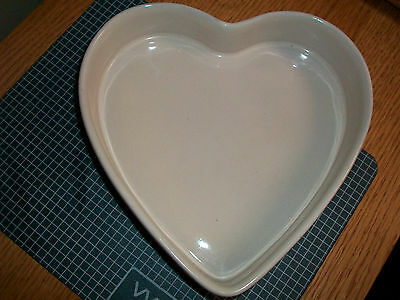"IEUC FRANKOMA USA MHBP 8"" x 8""  STONEWARE HEART IVORY  BEAUTIFUL PIECE"