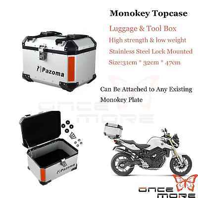 Outback Monokey Rear Case Luggage Motorcycle Top Box IN Aluminum Silver Custom