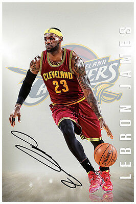 Lebron James Cleveland Cavaliers Autographed Large Poster Print. Look Awesome