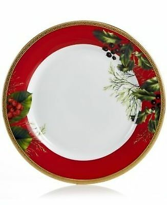 Charter Club Red Rim Holly Accent Plate      Set of 4