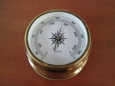 Schönes älteres Schiffsthermometer Royal Messing 13 cm Made in Germany