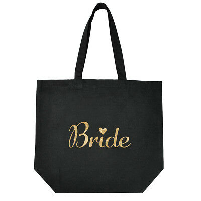 Black Bride to be Cotton Tote Bag for Wedding Bridal Shower Gifts Gold Script