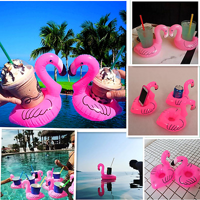 3PC FLAMINGO Beverage Boat Inflatable Cup Drink Can Holder Pool Float -BigMouth