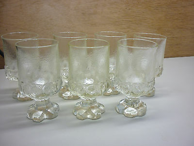 """Franciscan Madeira Set of 7 Clear 5-1/2"""" Tall Glasses Tiffin"""
