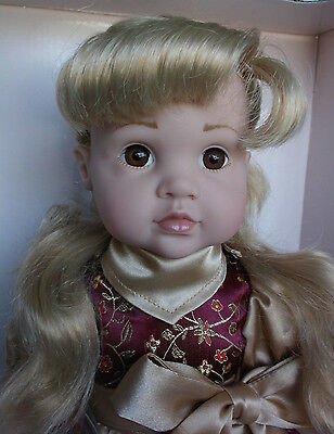 "Gotz Doll Leah Mint in Box 16"" All Vinyl Blonde Hair Brown Eyes Hildegard Gunzel"