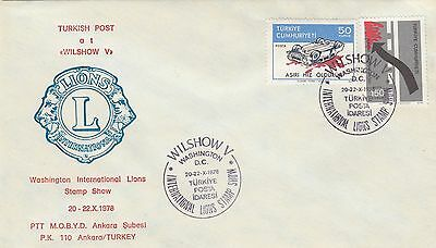 (03423) Turkey Cover Lions International Stamp Show Washington DC 1978