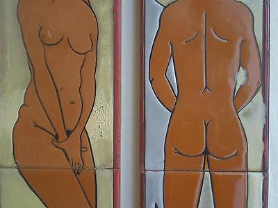 Greek Grec Signed Pair Tile Art Painted Enamel Decor Naked Man Woman Toilet W.C.