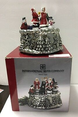 International Silver Co. Musical Santa And Mrs. Claus On Ice With Original Box