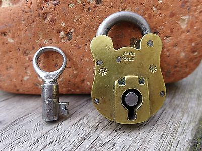 Antique Vintage Small Brass Padlock with one key working order Mark HandMade A
