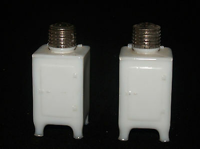 Vintage General Electric Monitor Refridgerator Milk Glass Salt And Pepper Set