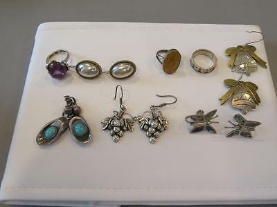 8 pcs. of Sterling Silver Mexican Jewlery -3 rings- 5 sets of Earrings