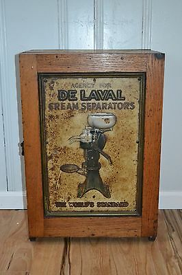 Vintage Wood & Tin Sign De Laval Cream Separator Parts Cabinet