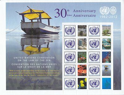 UN 2012 - 30th Anniv Law of the Sea Convention - Personalised Stamp Sheet - MNH
