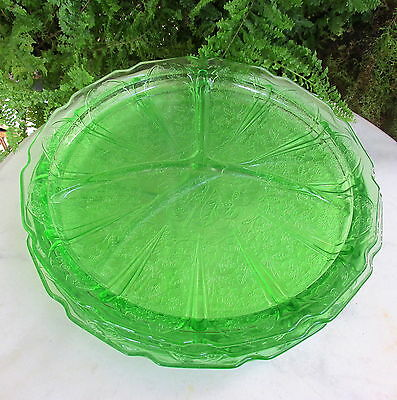Set Of 4 Green Jeannette Cherry Blossom Divided Grill Plates Excellent Condition