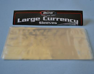 "50 Bcw Large 2Mil Currency Sleeve ""7 9/16 X 3 1/4"" Acid Free Poly"