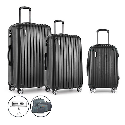3 x Suitcase Set Hard Shell Luggage Suit Case Trolley Travel TSA Lock Scale Bags