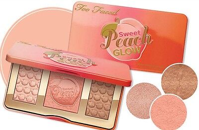 Too Faced Sweet Peach Glow Palette❤️3 Colours Blusher Highlighter✔️UK Seller