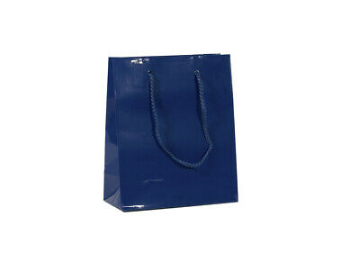 50 x NAVY DARK BLUE LAMINATED PAPER GIFT CARRY SHOPPING BAGS BULK - SMALL MEDIUM