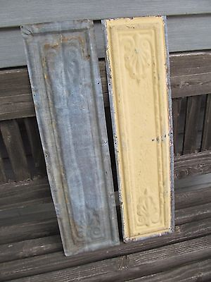 2 Antique Pressed Tin Ceiling Cornice Panels Molding Architectural Salvage