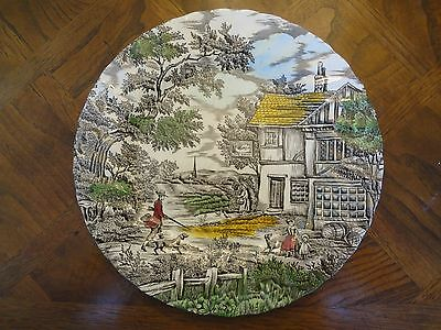 "Perfect Myott 10"" Hand Engraved Permanent Colour Plates, The Hunter, No Sale Tax"