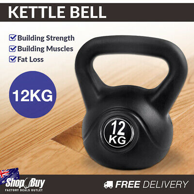 12kg Kettlebell Home Weight Training Exercise Kit Fitness Gym Kettle Bell Black