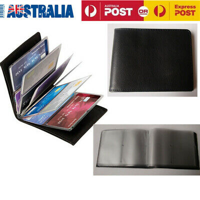 Amazing Slim RFID Blocking Case Black PU Leather 24 Cards Unisex Wallet AU