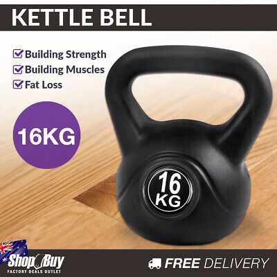16kg Kettlebell Home Weight Training Exercise Kit Fitness Gym Kettle Bell Black