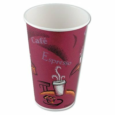 SOLO Cup Company 316SI Bistro Design Hot Drink Cups, Paper, 16oz, Maroon, 20 Pac