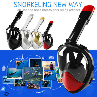 AU Full Face Snorkeling Snorkel Mask Diving Goggles + Pipe For GoPro Updated Ver