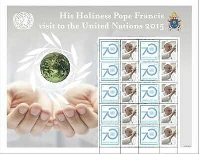UN 2015 - Visit Of The Pope To The UN - Personalised Stamp Sheet - MNH (S67)