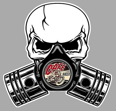 CAFE RACER Pistons Skull Sticker