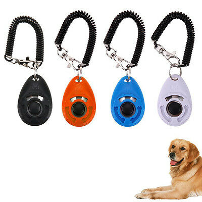 Random Puppy Button Dog Cat Pet Clicker Click Training Obedience Aid Wrist Strap