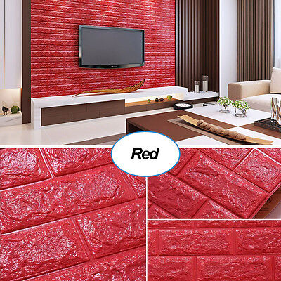 10 x 3D Foam Wall Panels Brick Red Wallpaper Textured Self adhesive Removable