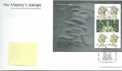 GB - FIRST DAY COVER - FDC - MINI SHEET -2000- HER MAJESTY'S STAMPS - Pmk LONDON