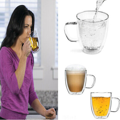 6XDouble Wall Thermo Glass Glasses Cup Mug CoolTouch Hot Cold Drink Coffee tea