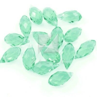 10pcs Vogue Green Crystal Beads Teardrop Top Drilled Charm Bracelet 12x6mm MG