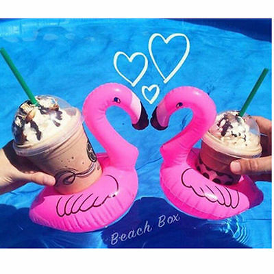 4pcs Inflatable Flamingo Swimming Pool Beach Drink Can Cup Beer Holder Boat Toy