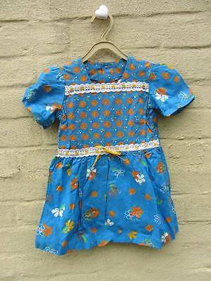 vintage little girls dress blue floral age 4 70's new deadstock boho mini hippie